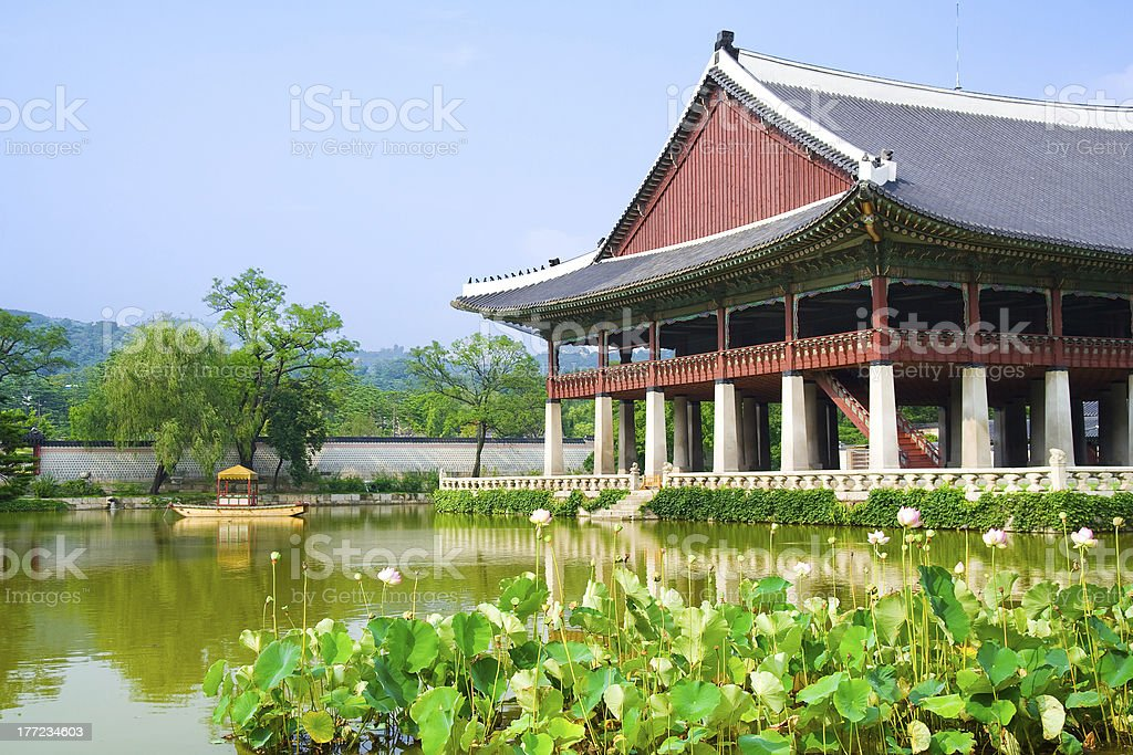 Emperor palace in Seoul. South Korea. Lake and boat