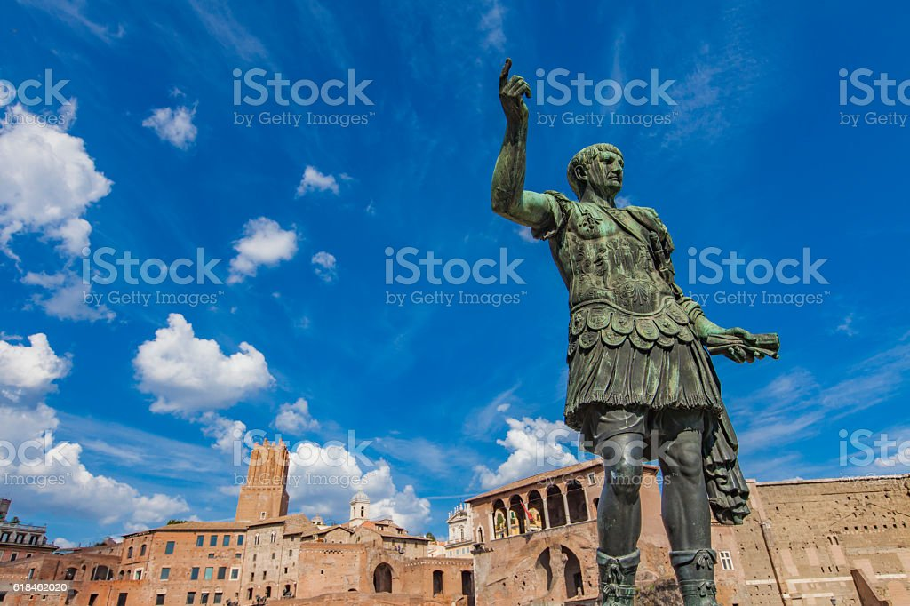 Emperor Trajan statue, in front of the Trajan's Markets stock photo