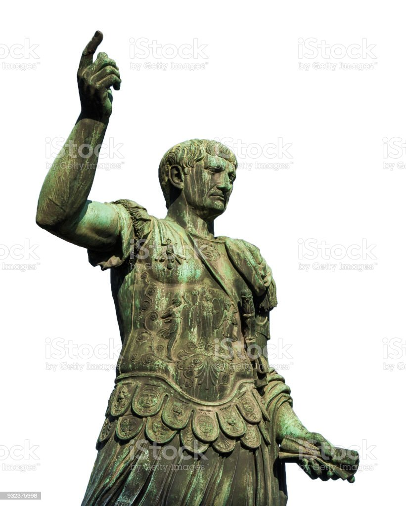 Emperor Trajan the conqueror (isolated on white background) stock photo