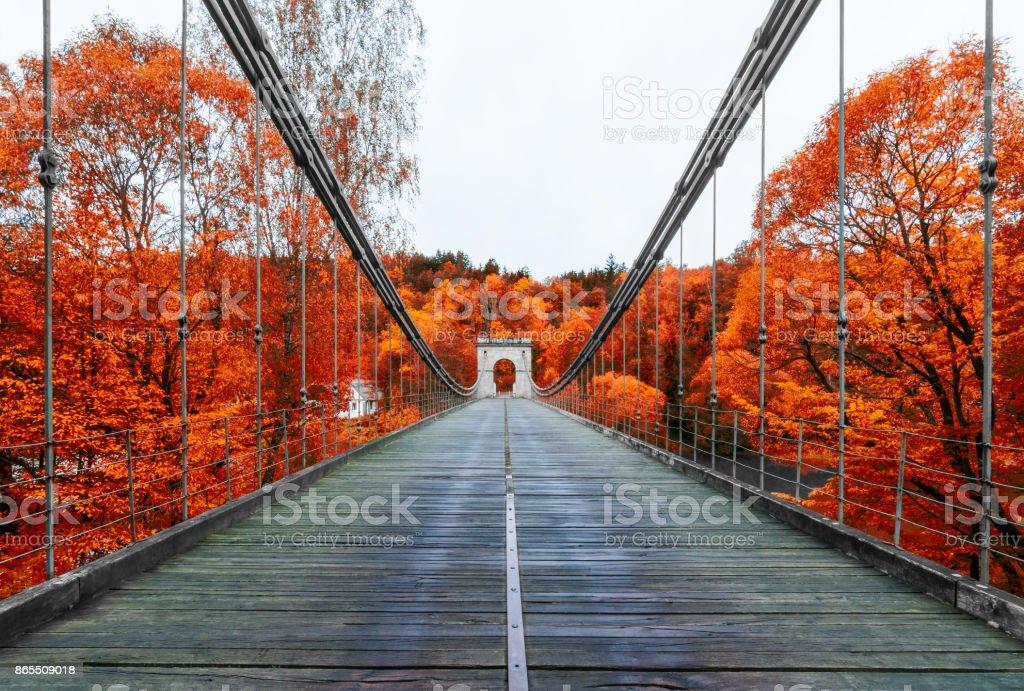Empire chain bridge across the river Luznice, Stadlec, Czech Republic, Europe stock photo