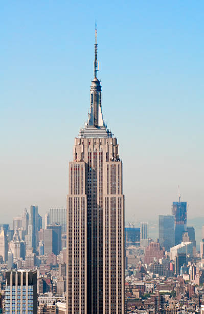 Empire state and midtown New York aerial skyline from the top of the observation deck on Rockefeller center. empire state building stock pictures, royalty-free photos & images