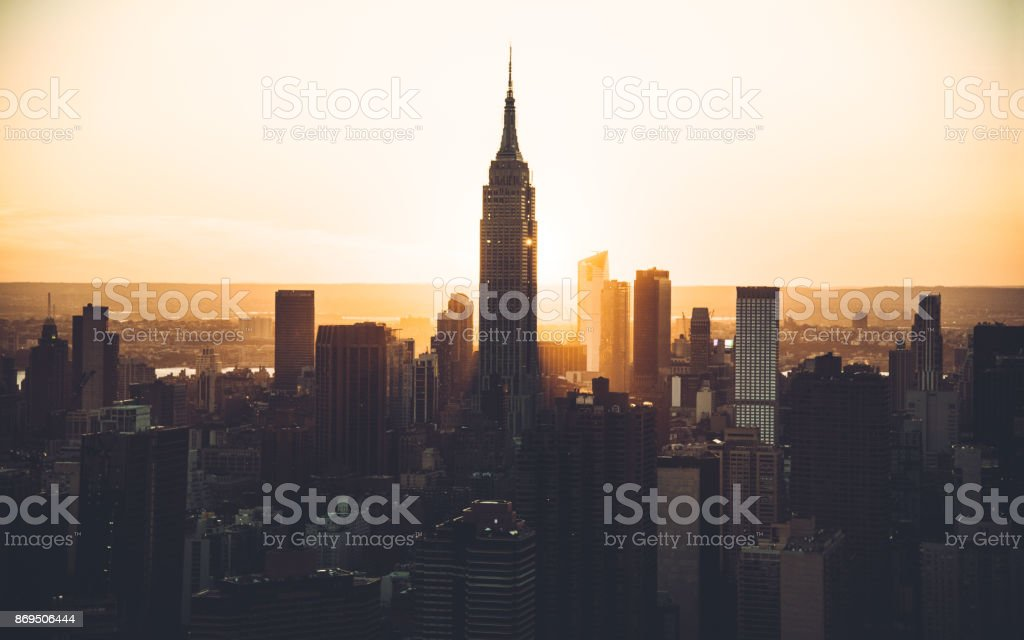 empire state building aerial view at dusk stock photo
