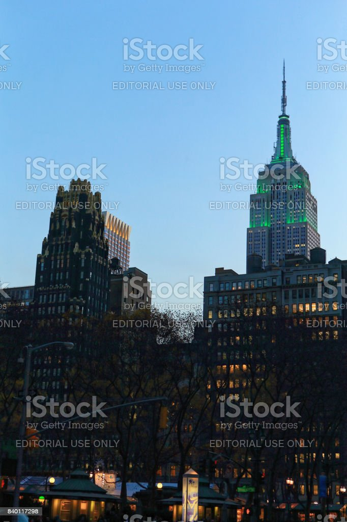 Empire State Building and Bryant Park stock photo