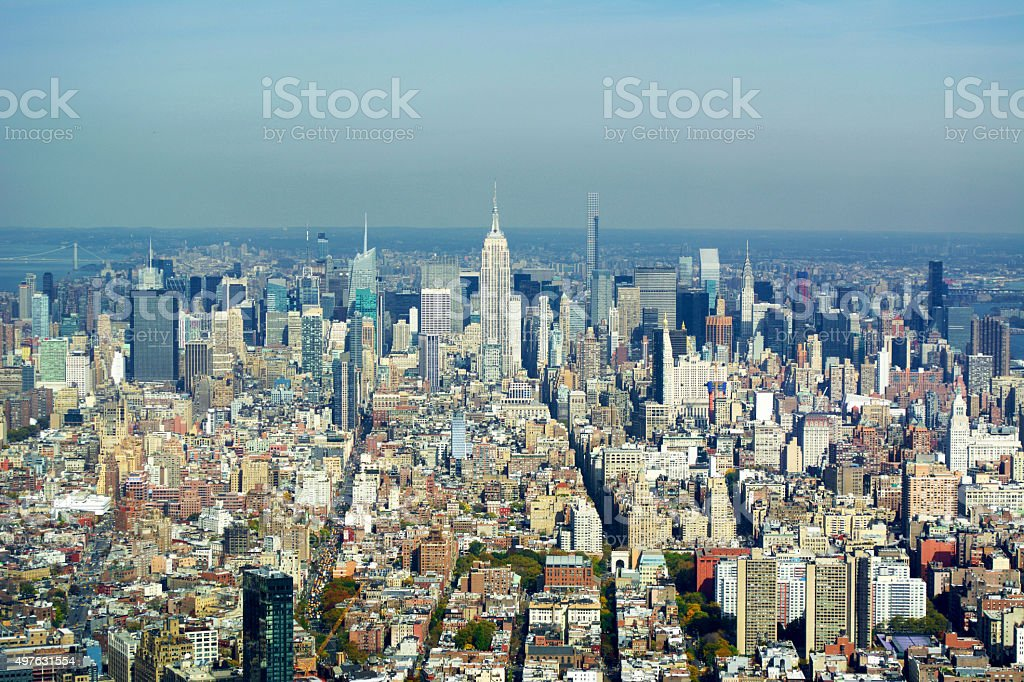 Empire State Building and Manhattan Aerial View stock photo