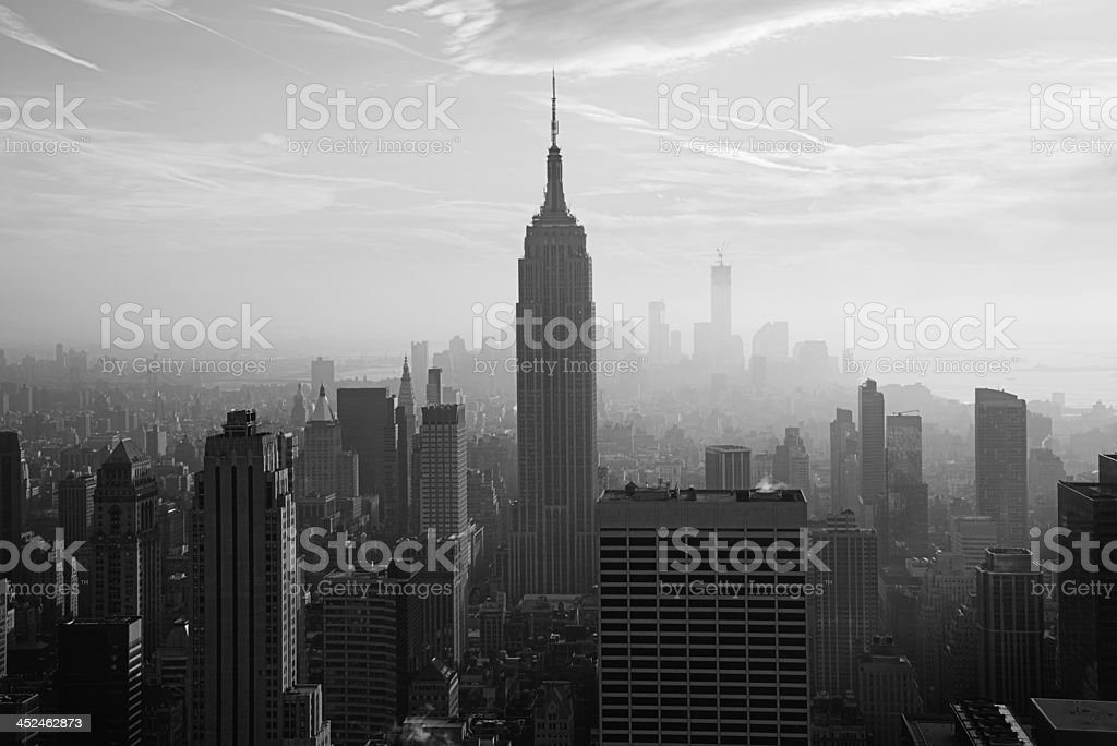 Empire State Building and New York skyline stock photo