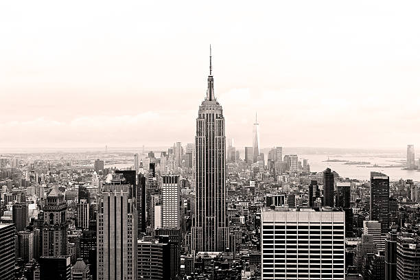 Empire State Building Black and White New York City, NY, United States of America. New York City panorama in black and white taken from the observation deck of the GE Building. October 2014.  empire state building stock pictures, royalty-free photos & images