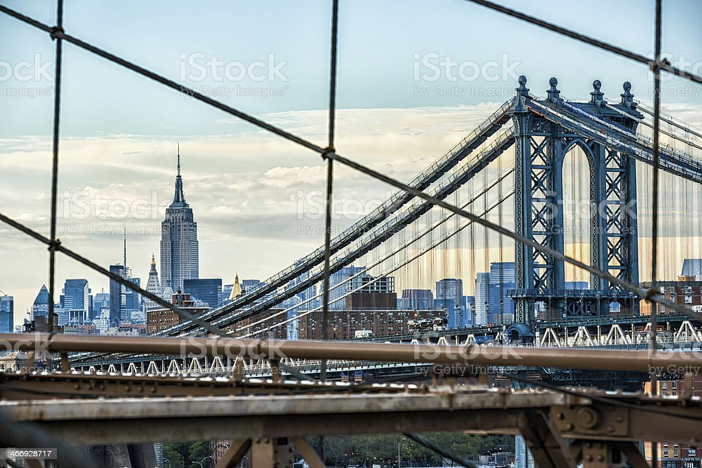 Empire State Building, Brooklyn and Manhattan bridge, New York royalty-free stock photo