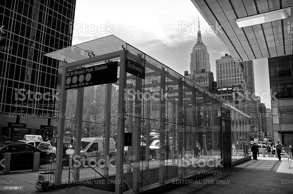 Empire State Building Cityscape, Subway entrance, 42nd Street, NYC stock photo