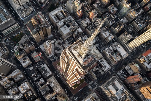 Helicopter point of view of Empire State Building in New York with many details visible in the image.