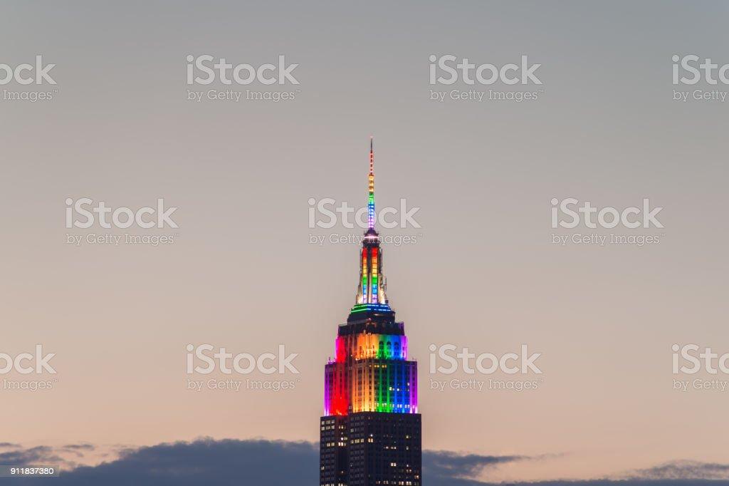Empire State Building pride colors stock photo
