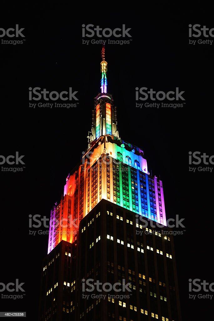 Empire State Building Rainbow Lights stock photo