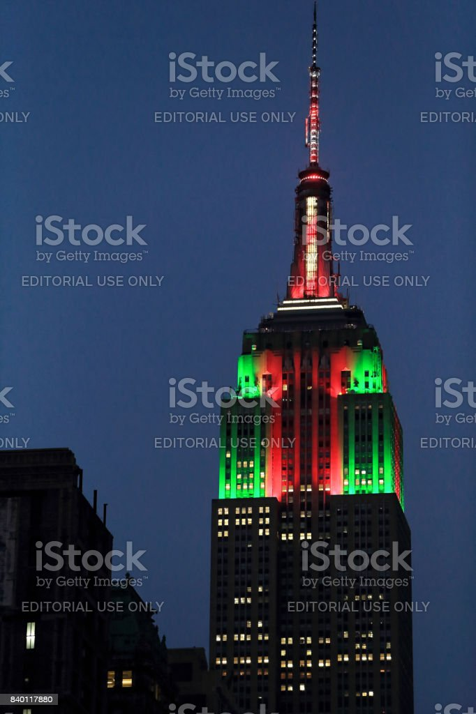 Empire state building with Christmas illumination stock photo