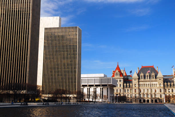 Empire State Plaza and the New York State Capitol, Albany stock photo