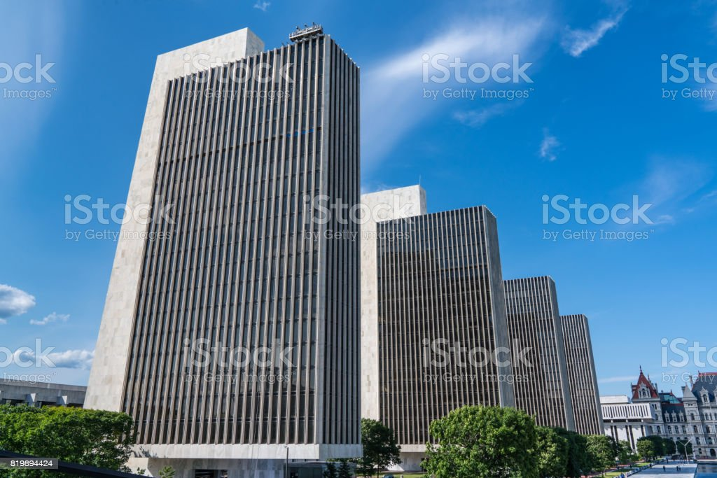 Empire State Plaza Buildings stock photo