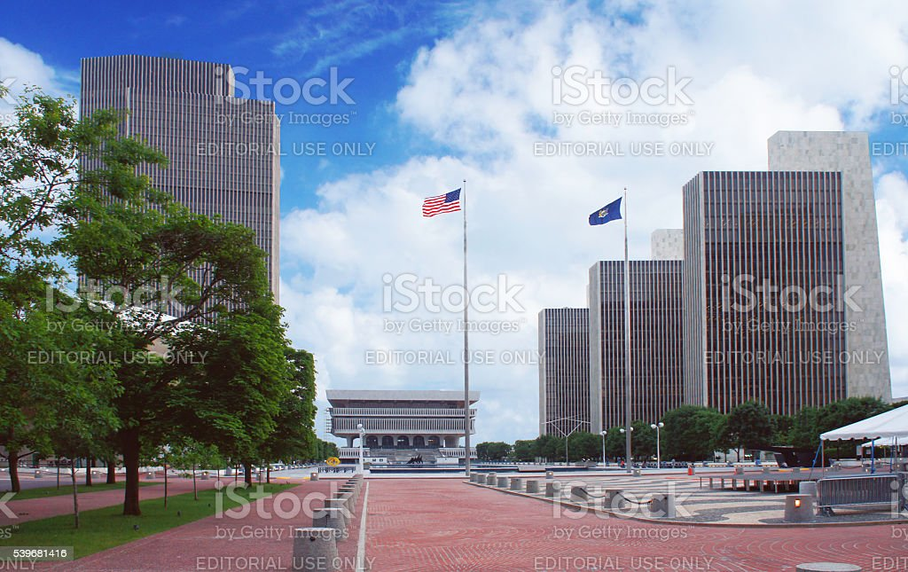 Empire State Plaza in Albany, New York state capital stock photo