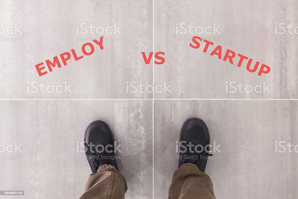 Employ VS Startup stock photo