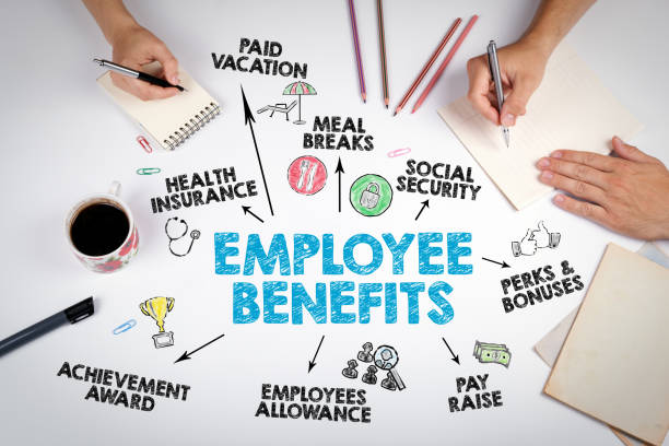 Employee Benefits Concept. The meeting at the white office table stock photo
