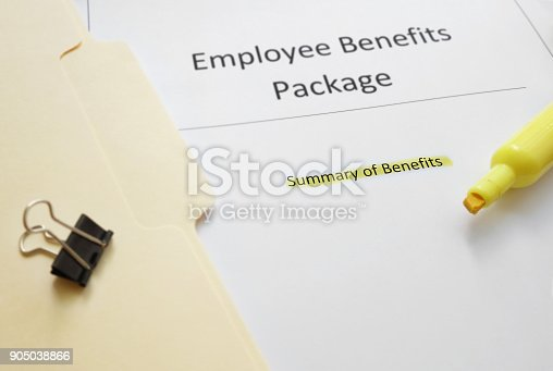 Employee summary of benefits documents with highlighted text