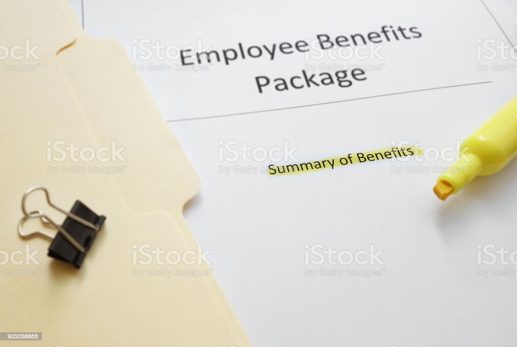 Employee benefits package stock photo