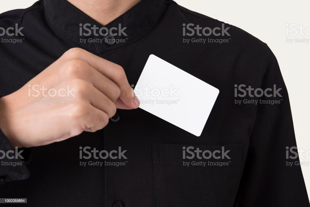 employee catch blank business card in pocket for mockup template