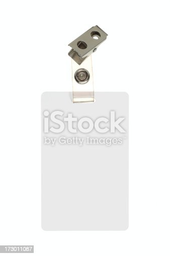 Blank indentification badge with clip on a white backgroundrelated: