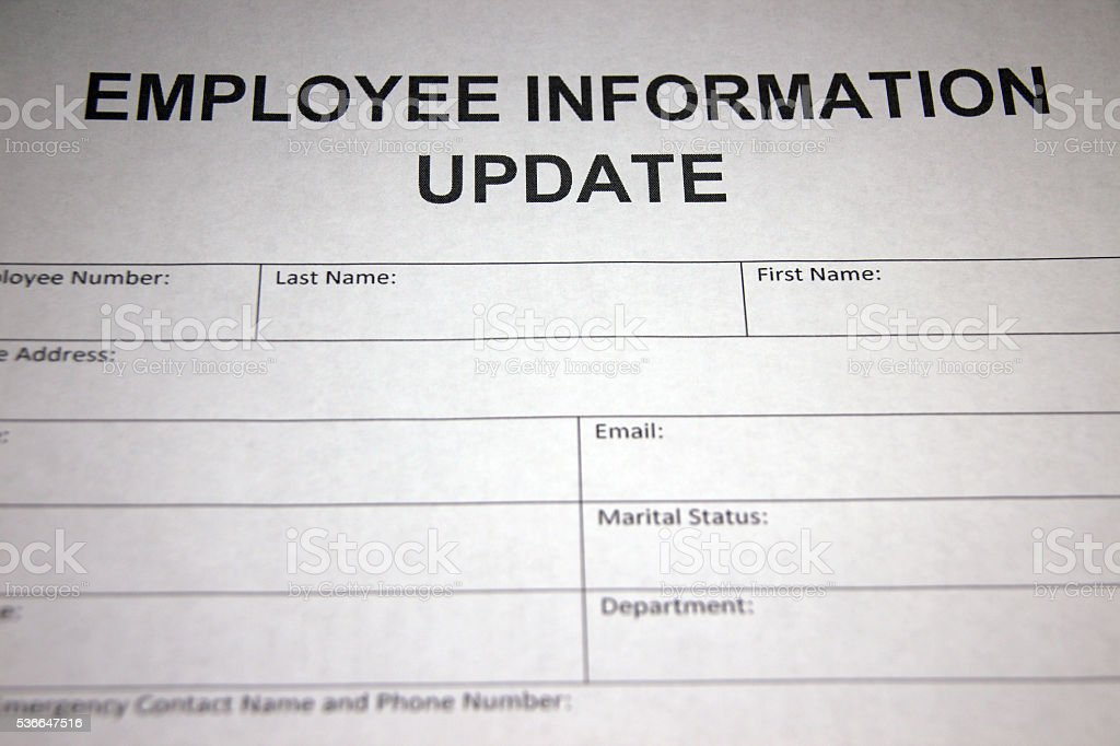 Employee Information Update Form Stock Photo  More Pictures Of