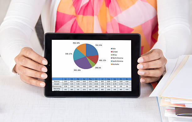 Employee making a presentation with a tablet & chart stock photo