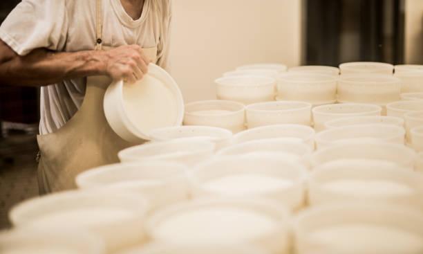 werknemer een traditionele franse kaas maken - hand constructing industry stockfoto's en -beelden