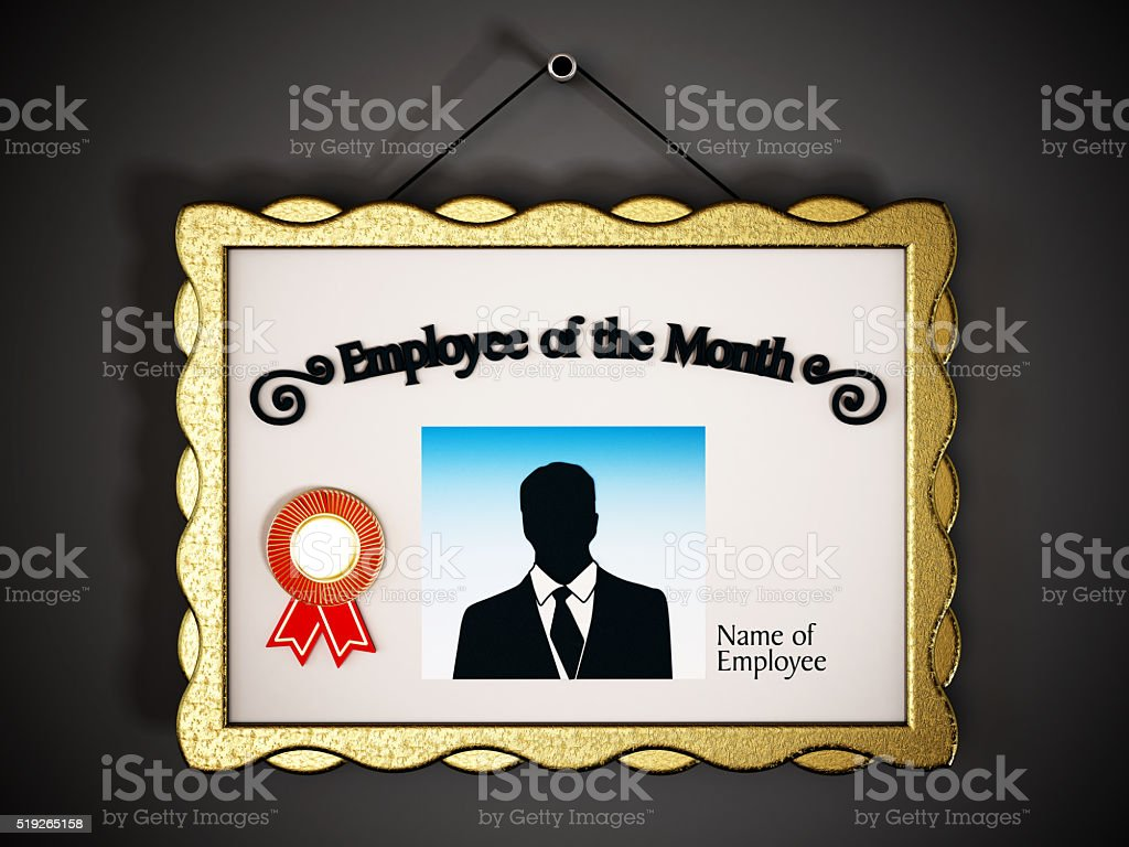 employee of the month signboard on the wall stock photo more
