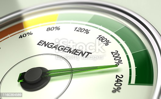 3D illustration of a gauge with needle pointing more than 200 percent. Company or employee engagement Concept