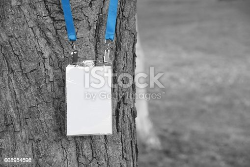 668954740istockphoto Employee tag hanging on a tree 668954598