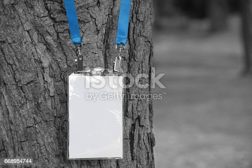 668954740istockphoto Employee tag hanging on a tree 668954744