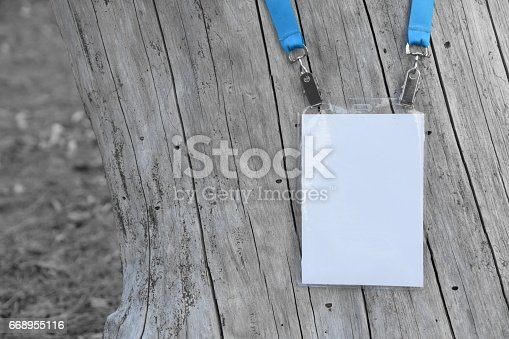 668954740istockphoto Employee tag hanging on a tree 668955116