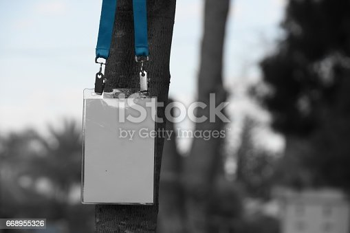668954740istockphoto Employee tag hanging on a tree 668955326