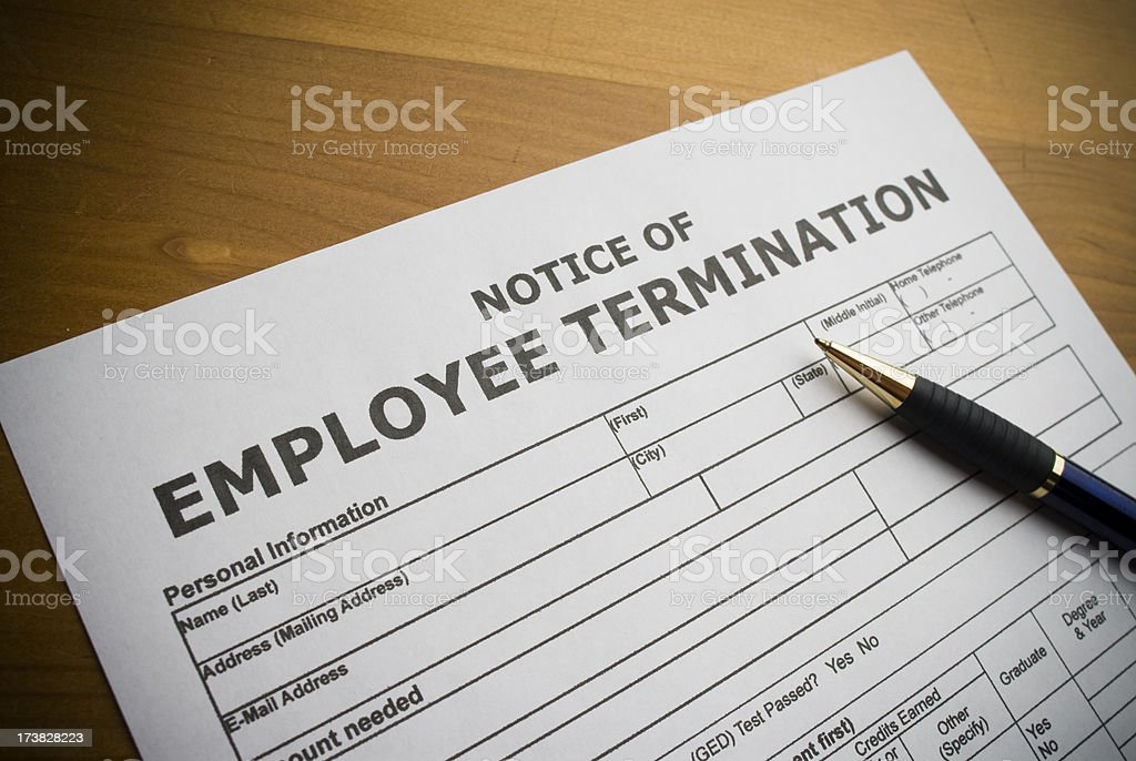 Employee Termination document stock photo