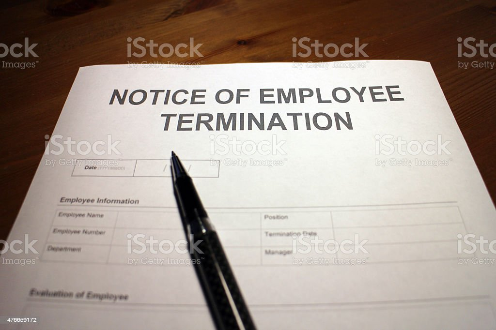 Employee Termination Notice stock photo