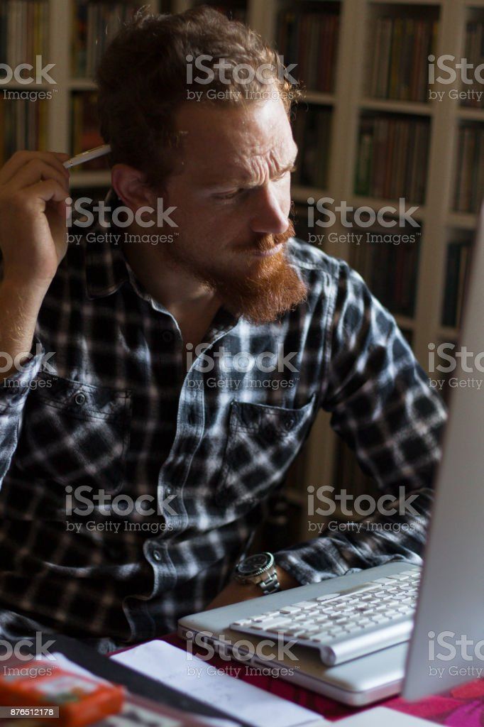 Employee  thinking about work stock photo