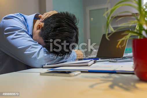 833210686 istock photo Employee tired of working overtime late at night 495665870