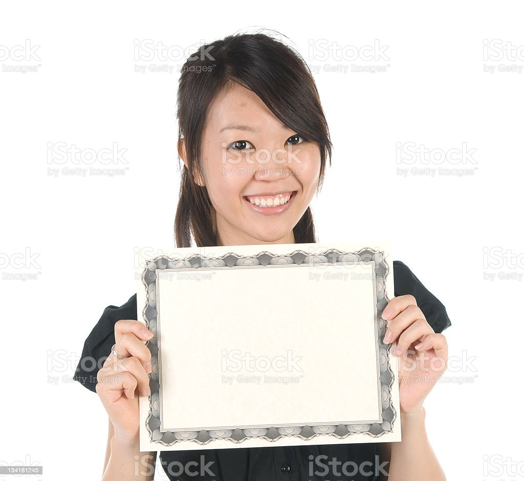 Employee with Blank Certificate stock photo