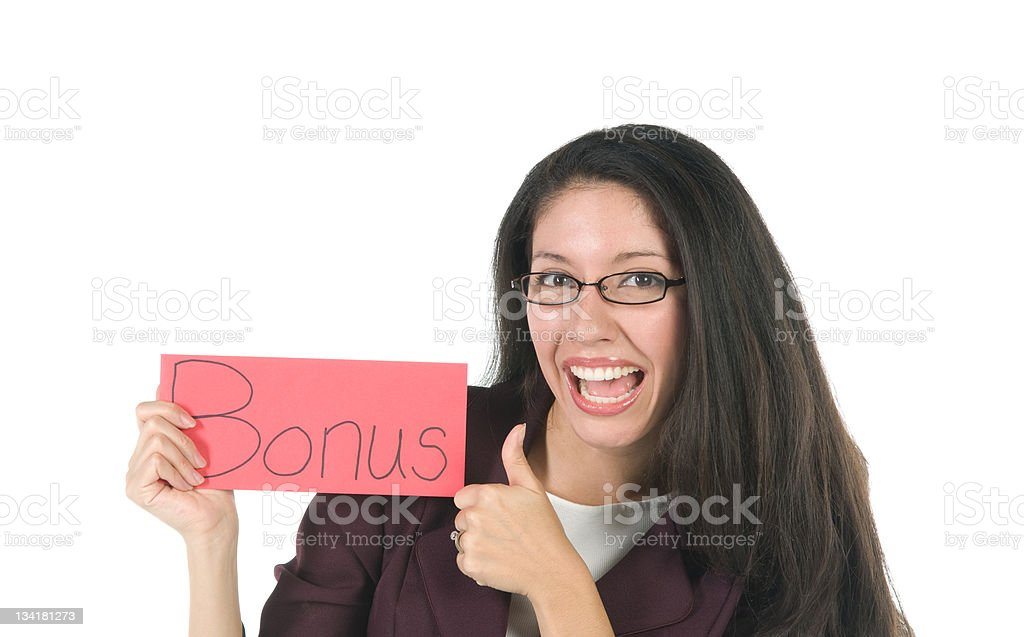 Employee with bonus envelope stock photo