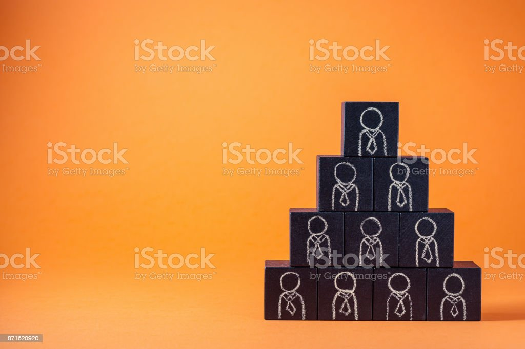 Employees are represented by wooden cubes. Business concept for human resources. stock photo
