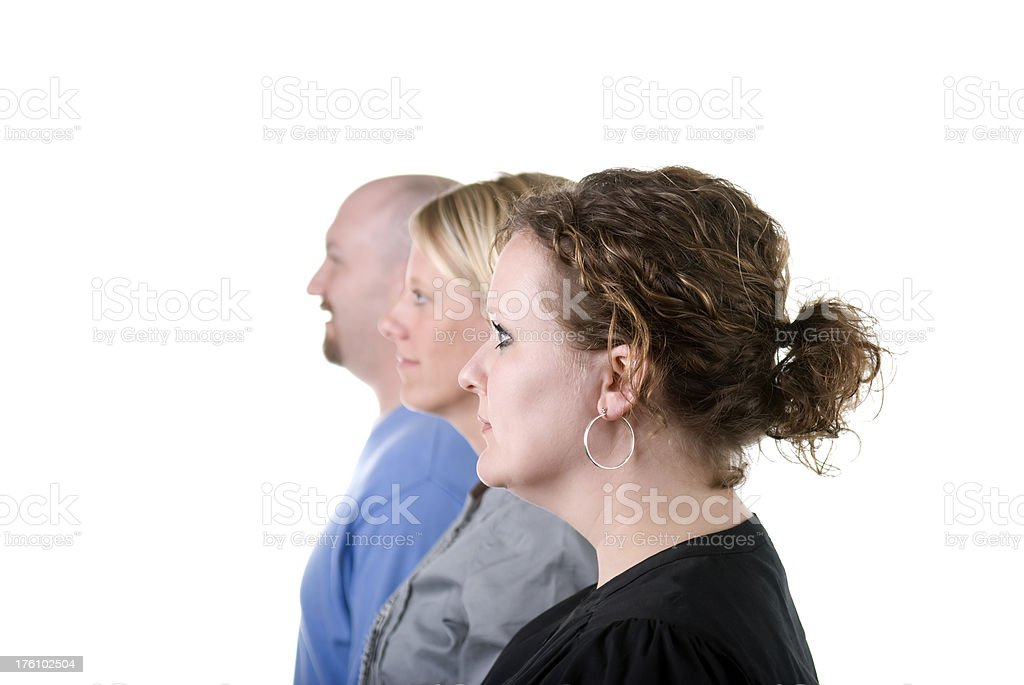 Employees in a row stock photo