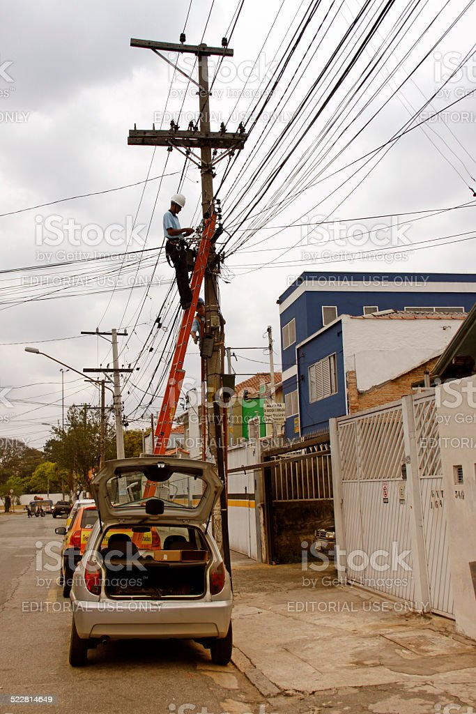 employees of the electricity company stock photo
