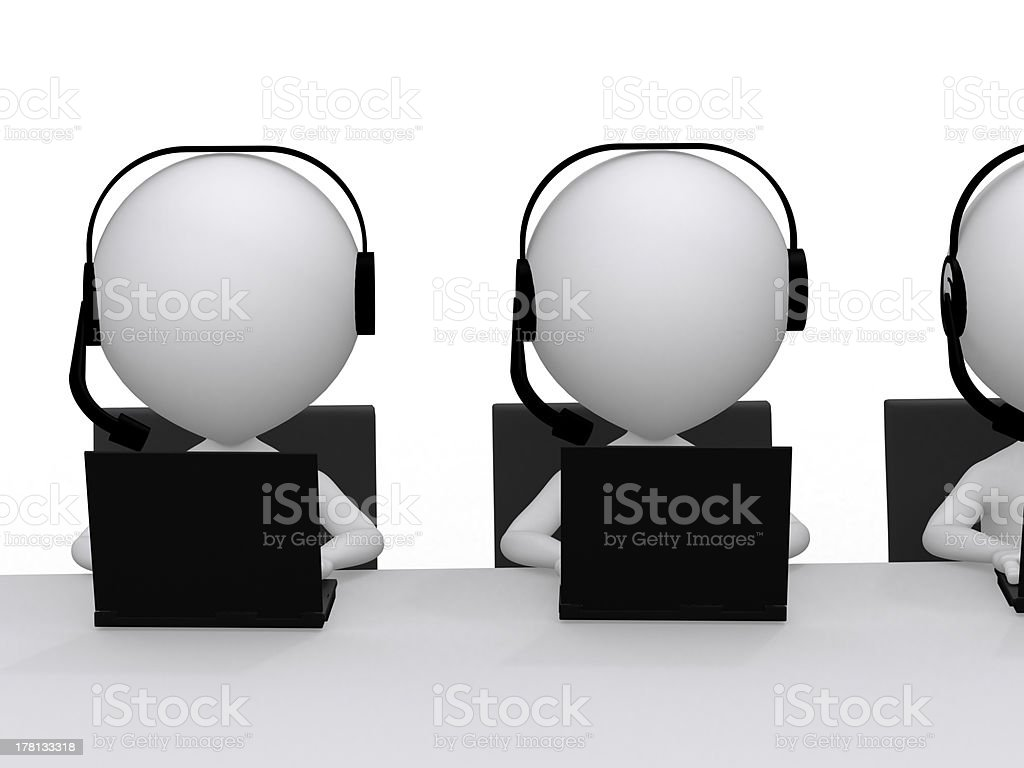 Employees working in a call center royalty-free stock photo
