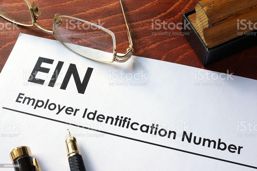 Employer Identification Number (EIN). stock photo