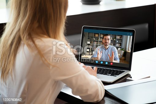 View over shoulder employer listen applicant at job interview online use cam and pc. To prevent spread corona virus covid19 infectious epidemia colleagues working distantly, self-isolation hr concept
