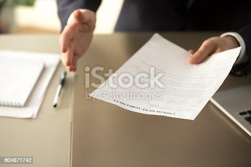 istock Employer offering job, businessman extending employment agreement, close up view 804671742