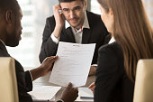 istock Employers considering bad resume, unhired worried applicant waiting, close up 695760134