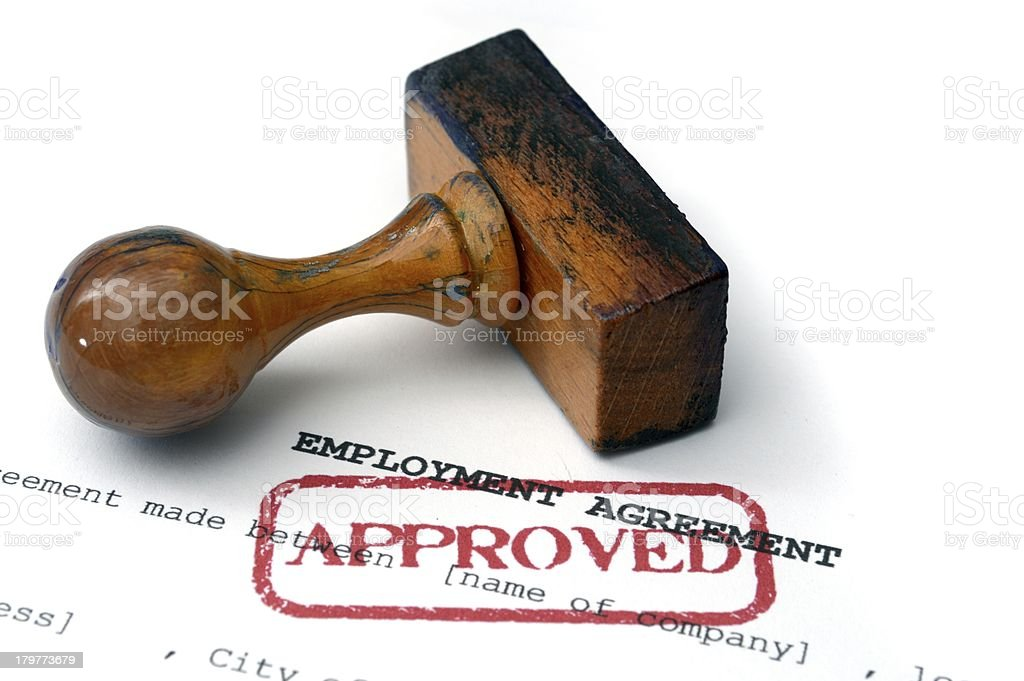 Employment agreement - approved royalty-free stock photo