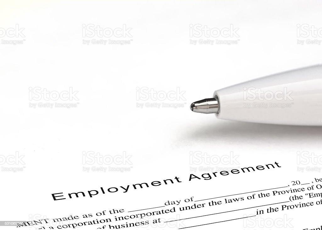 Employment agreement stock photo